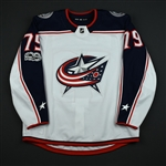 Abramov, Vitaly<br>White Set 1 w/ NHL Centennial Patch - Preseason Only<br>Columbus Blue Jackets 2017-18<br>#79 Size: 54