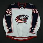 Benoit, Andre<br>White Set 1 w/ NHL Centennial Patch - Preseason Only<br>Columbus Blue Jackets 2017-18<br>#48 Size: 54