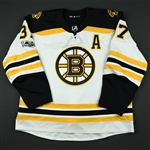 Bergeron, Patrice<br>White Set 1 w/A, w/ NHL Centennial Patch (Hockey Hall of Fame Game Patch Removed)<br>Boston Bruins 2017-18<br>#37 Size: 58