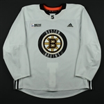 adidas<br>White Practice Jersey w/ O.R.G. Packaging Patch <br>Boston Bruins 2017-18<br> Size: 56