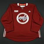 adidas<br>Burgundy Practice Jersey w/ MedStar Health Patch<br>Washington Capitals 2017-18<br> Size: 58