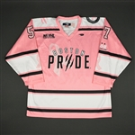 Mangene, Meagan<br>Strides For The Cure - Autographed - Game-Issued<br>Boston Pride 2015-16<br>#57 Size: L