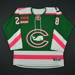 Faber, Sam<br>Green- Strides For The Cure<br>Connecticut Whale 2016-17<br>#28 Size: MD