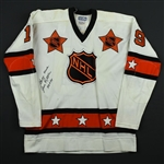 "Ratelle, Jean *<br>White - East Division - Autographed and Inscribed ""Game Worn Jean Ratelle HOF 85""<br>NHL All-STAR 1973<br>#19 Size: 48"
