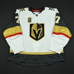 Garrison, Jason<br>White Stanley Cup Playoffs w/ Inaugural Season Patch - Game-Issued (GI)<br>Vegas Golden Knights 2017-18<br>#7 Size: 58