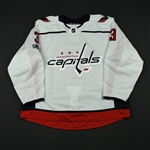 <p>This white jersey was worn by Jyrki Jokipakka while playing for the Washington Capitals during the 2017-18 National Hockey League preseason. It includes the NHL Centennial patch.</p><p>Jokipakka...
