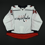 <p>This white jersey was worn by Damien Riat while playing for the Washington Capitals during the 2017-18 National Hockey League preseason. It includes the NHL Centennial patch.</p><p>The Capitals...