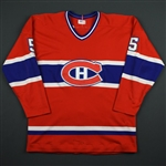 Lapointe, Guy *<br>Red - Nameplate Removed<br>Montreal Canadiens 1981-82<br>#5 Size: NA