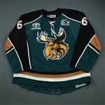 Connauton, Kevin *<br>Teal w/ Moose 15 year anniversary patch and AHL 75 seasons patch - Photo-Matched<br>Manitoba Moose 2010-11<br>#6 Size: 58