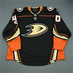 Boll, Jared<br>Black w/ NHL Centennial patch - PHOTO-MATCHED<br>Anaheim Ducks 2017-18<br>#40 Size: 58