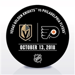 Philadelphia Flyers Warmup Puck<br>October 13, 2018 vs. Vegas Golden Knights<br>Philadelphia Flyers 2018-19<br>