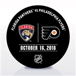 Philadelphia Flyers Warmup Puck<br>October 16, 2018 vs. Florida Panthers<br>Philadelphia Flyers 2018-19<br>
