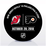 Philadelphia Flyers Warmup Puck<br>October 20, 2018 vs. New Jersey Devils<br>Philadelphia Flyers 2018-19<br>