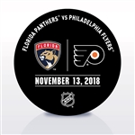 Philadelphia Flyers Warmup Puck<br>November 13, 2018 vs. Florida Panthers<br>Philadelphia Flyers 2018-19<br>