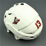 Baddock, Brandon<br>White, CCM Helmet (Shield Removed)<br>Binghamton Devils 2017-18<br>#13 Size: Medium