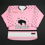 NNOB (No Name On Back)<br>Strides for the Cure (Game-Issued) - January 20, 2018<br>Buffalo Beauts 2017-18<br>#9 Size: LG