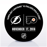 Philadelphia Flyers Warmup Puck<br>November 17, 2018 vs. Tampa Bay Lightning<br>Philadelphia Flyers 2018-19<br>