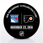 Philadelphia Flyers Warmup Puck<br>November 23, 2018 vs. New York Rangers<br>Philadelphia Flyers 2018-19<br>