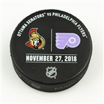 Philadelphia Flyers Warmup Puck<br>November 27, 2018 vs. Ottawa Senators - Hockey Fights Cancer Logo<br>Philadelphia Flyers 2018-19<br>