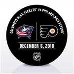 Philadelphia Flyers Warmup Puck<br>December 6, 2018 vs. Columbus Blue Jackets<br>Philadelphia Flyers 2018-19<br>
