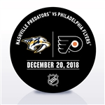 Philadelphia Flyers Warmup Puck<br>December 20, 2018 vs. Nashville Predators<br>Philadelphia Flyers 2018-19<br>