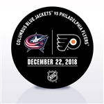 Philadelphia Flyers Warmup Puck<br>December 22, 2018 vs. Columbus Blue Jackets<br>Philadelphia Flyers 2018-19<br>