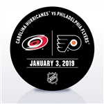 Philadelphia Flyers Warmup Puck<br>January 3, 2019 vs. Carolina Hurricanes<br>Philadelphia Flyers 2018-19<br>