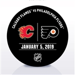 Philadelphia Flyers Warmup Puck<br>January 5, 2019 vs. Calgary Flames<br>Philadelphia Flyers 2018-19<br>
