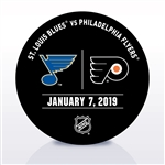 Philadelphia Flyers Warmup Puck<br>January 7, 2019 vs. St. Louis Blues<br>Philadelphia Flyers 2018-19<br>