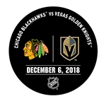 Vegas Golden Knights Warmup Puck<br>December 6, 2018 vs. Chicago Blackhawks<br> 2018-19