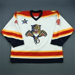 Bouwmeester, Jay *<br>White Set 1- w/All-Star Patch - Photo-Matched<br>Florida Panthers 2002-03<br>#4 Size: 58