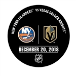 Vegas Golden Knights Warmup Puck<br>December 20, 2018 vs. New York Islanders<br> 2018-19