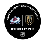 Vegas Golden Knights Warmup Puck<br>December 27, 2018 vs. Colorado Avalanche<br> 2018-19