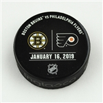 Philadelphia Flyers Warmup Puck<br>January 16, 2019 vs. Boston Bruins<br>Philadelphia Flyers 2018-19<br>58G