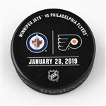 Philadelphia Flyers Warmup Puck<br>January 28, 2019 vs. Winnipeg Jets<br>Philadelphia Flyers 2018-19