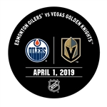 Vegas Golden Knights Warmup Puck<br>April 1, 2019 vs. Edmonton Oilers<br> 2018-19