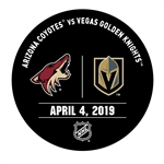 Vegas Golden Knights Warmup Puck<br>April 4, 2019 vs. Arizona Coyotes<br> 2018-19