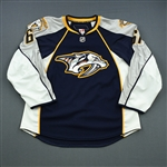 Brannon, Scott *<br>Navy Set 1 - Game-Issued (GI)<br>Nashville Predators 2009-10<br>#61 Size: 56