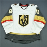 Marchessault, Jonathan <br>White Set 2 - 100th Point with Golden Knights<br>Vegas Golden Knights 2018-19<br>#81 Size: 54