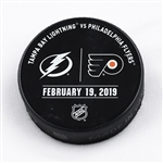 Philadelphia Flyers Warmup Puck<br>February 19, 2019 vs. Tampa Bay Lightning<br>Philadelphia Flyers 2018-19<br>58