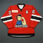 Dosdall, Kiira<br>Red Set 2 / Playoffs w/A<br>Metropolitan Riveters 2018-19<br>#26 Size: LG
