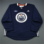 adidas<br>Navy Practice Jersey w/ Ford Patch <br>Edmonton Oilers 2018-19<br> Size: 58