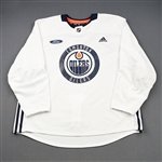 adidas<br>White Practice Jersey w/ Ford Patch <br>Edmonton Oilers 2018-19<br># Size: 58+