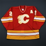 MacInnis, Al *<br>Red w/A - Autographed<br>Calgary Flames 1990-91<br>#2 Size: 52