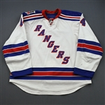 Eminger, Steve *<br>White w/ 85th Anniversary Patch - Worn October 2010 - December 2010<br>New York Rangers 2010-11<br>#44 Size: 58