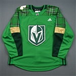 "Blank - No Name or Number<br>Green ""St. Patricks Day"" Warm-Up (Adidas adizero) <br>Vegas Golden Knights 2018-19<br> Size: 54"