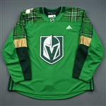 "Blank - No Name or Number<br>Green ""St. Patricks Day"" Warm-Up (Adidas adizero) <br>Vegas Golden Knights 2018-19<br> Size: 58"