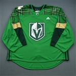 "Blank - No Name or Number<br>Green ""St. Patricks Day"" Warm-Up (Adidas adizero) <br>Vegas Golden Knights 2018-19<br> Size: 60G"