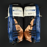 Ranford, Bill *<br>Vaughn, Blue, White, Copper & Black Leg Pads - PHOTO-MATCHED<br>Washington Capitals 1997-98<br>30 Size: