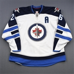 Wheeler, Blake *<br>White w/A and 2011-12 Inaugural Season Patch removed<br>Winnipeg Jets 2011-16<br>26 Size: 58